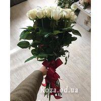Букет із 21 білої троянди - Фото 1