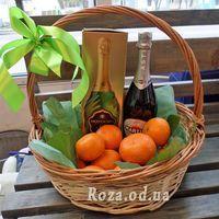 Корзина с мандаринами и шампанским - Фото 2