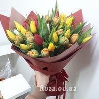 Букет из 55 разноцветных тюльпанов - Фото 1