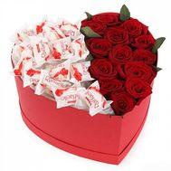 Цветы и Raffaello в коробке - цветы и букеты на roza.od.ua