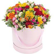 Цветы в коробке круглой - цветы и букеты на roza.od.ua