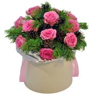 """Bouquet for New Year in box"" in the online flower shop roza.od.ua"