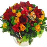 Шикарний новорічний букет - цветы и букеты на roza.od.ua