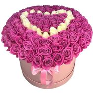 Heart of 101 roses in a box - flowers and bouquets on roza.od.ua