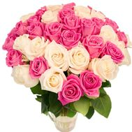Delicate bouquet of white and pink roses - flowers and bouquets on roza.od.ua