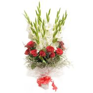 Bouquet of roses and gladioluses - flowers and bouquets on roza.od.ua