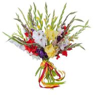 """Colorful bouquet of gladiolus"" in the online flower shop roza.od.ua"