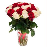 Bouquet of 29 multi-colored roses - flowers and bouquets on roza.od.ua