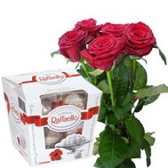 5 roses and Raffaello - flowers and bouquets on roza.od.ua