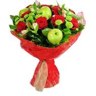 Bouquet of roses with apples - flowers and bouquets on roza.od.ua
