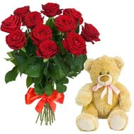 11 red roses and teddy bear - flowers and bouquets on roza.od.ua
