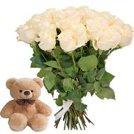 25 white roses with teddy bear - flowers and bouquets on roza.od.ua