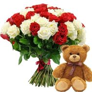 """51 red and white rose and teddy bear"" in the online flower shop roza.od.ua"