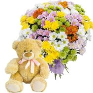 Bouquet of chrysanthemums with teddy bear - flowers and bouquets on roza.od.ua
