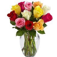 11 разноцветных роз в букете - цветы и букеты на roza.od.ua