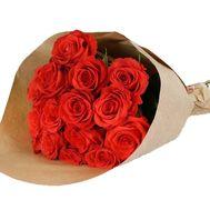 15 оранжевых роз в крафте - цветы и букеты на roza.od.ua