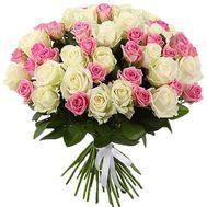 51 белая и розовая роза - цветы и букеты на roza.od.ua
