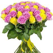 51 розовая и желтая роза - цветы и букеты на roza.od.ua