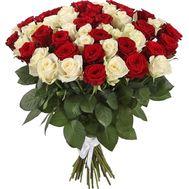 Букет красных и белых роз на 60-летие - цветы и букеты на roza.od.ua
