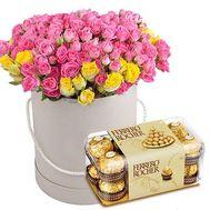 51 кустовая роза и Ferrero - цветы и букеты на roza.od.ua