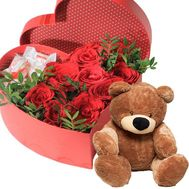 Roses with Raffaello in a box with a teddy bear - flowers and bouquets on roza.od.ua