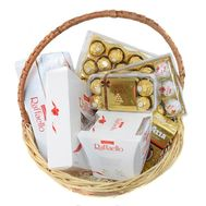 """Ferrero Rocher and Raffaello gift basket"" in the online flower shop roza.od.ua"