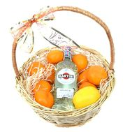 Martini и мандарины в корзинке - цветы и букеты на roza.od.ua