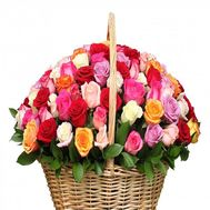 101 multi-colored rose in the basket - flowers and bouquets on roza.od.ua