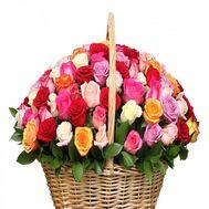 101 разноцветная роза в корзине - цветы и букеты на roza.od.ua
