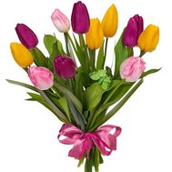 11 multi-colored tulips - flowers and bouquets on roza.od.ua