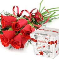 5 red roses and Raffaello - flowers and bouquets on roza.od.ua