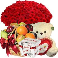 51 roses, teddy bear, fruit, sweets - flowers and bouquets on roza.od.ua