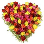 73 разноцветные розы - цветы и букеты на roza.od.ua