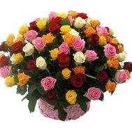 75 multi-colored roses - flowers and bouquets on roza.od.ua
