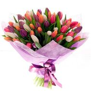 75 разноцветных тюльпанов - цветы и букеты на roza.od.ua