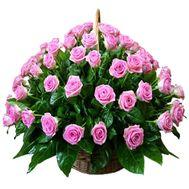 75 розовых роз в корзине - цветы и букеты на roza.od.ua