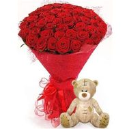 """51 red rose and a bear"" in the online flower shop roza.od.ua"