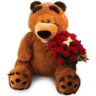 Large bear with roses - flowers and bouquets on roza.od.ua