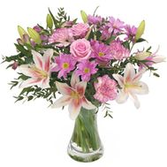 Bouquet of lilies, roses, chrysanthemums and carnations - flowers and bouquets on roza.od.ua