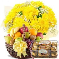 Bouquet of chrysanthemums, fruit, Ferrero - flowers and bouquets on roza.od.ua