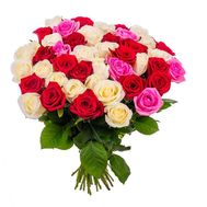 Bouquet of 35 multicolored roses - flowers and bouquets on roza.od.ua