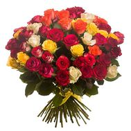 Bouquet of 45 multi-colored roses - flowers and bouquets on roza.od.ua