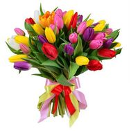 Букет из 55 разноцветных тюльпанов - цветы и букеты на roza.od.ua