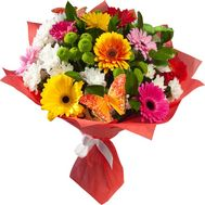 Bouquet of flowers from gerberas and chrysanthemums - flowers and bouquets on roza.od.ua