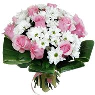Bouquet of chrysanthemums and roses - flowers and bouquets on roza.od.ua