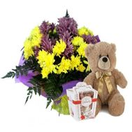 7 chrysanthemums, teddy bear, candy - flowers and bouquets on roza.od.ua