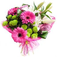 """Bouquet of lilies, gerberas and chrysanthemums"" in the online flower shop roza.od.ua"