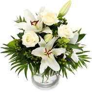 Bouquet of lilies and 3 roses - flowers and bouquets on roza.od.ua