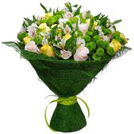 Bouquet of flowers from chrysanthemums, alstromeries and roses - flowers and bouquets on roza.od.ua