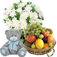 Bouquet, bear, fruit - flowers and bouquets on roza.od.ua